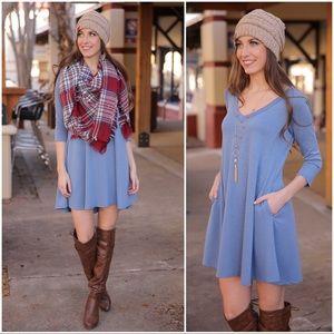 Blue V Neck Swing Dress with Pockets